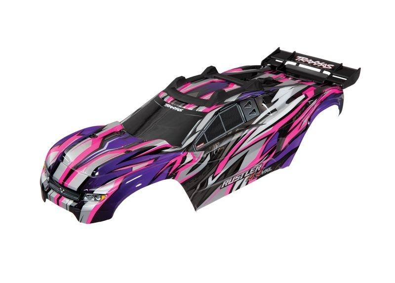 Traxxas Karo Rustler 4X4 VXL pink +Decals mit Karohalterung