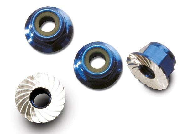 Traxxas Muttern mit Flansch 4mm blau