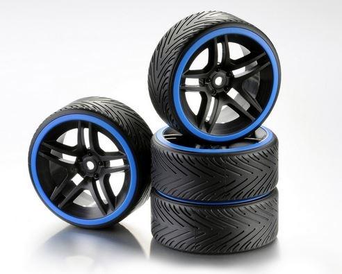 Absima Räderset Drift 10-Sp.Profil A Felge schw./Ring blau