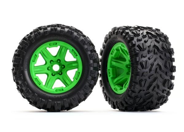 Traxxas Reifen auf Felge grün montiert (Talon EXT 3.8)