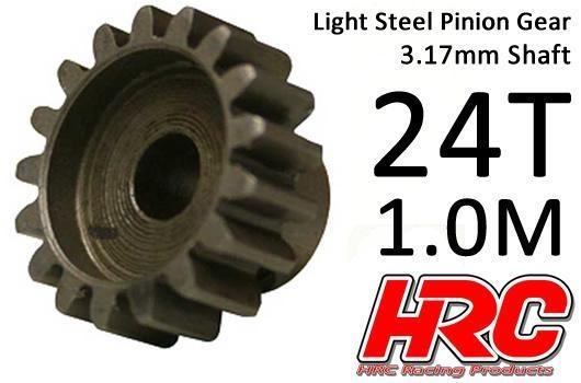 HRC Motorritzel - 1.0M / 3.17mm Achse - Stahl - Leicht - 24Z