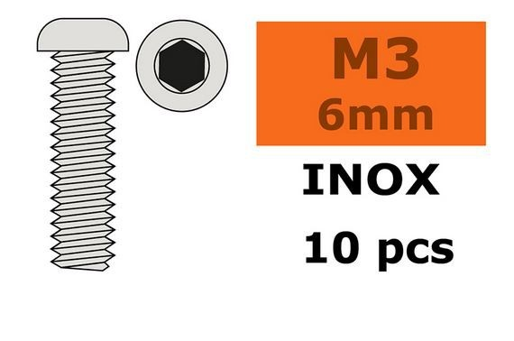 G-Force RC - Hex Button Head Screw - M3X6 - Inox (10)
