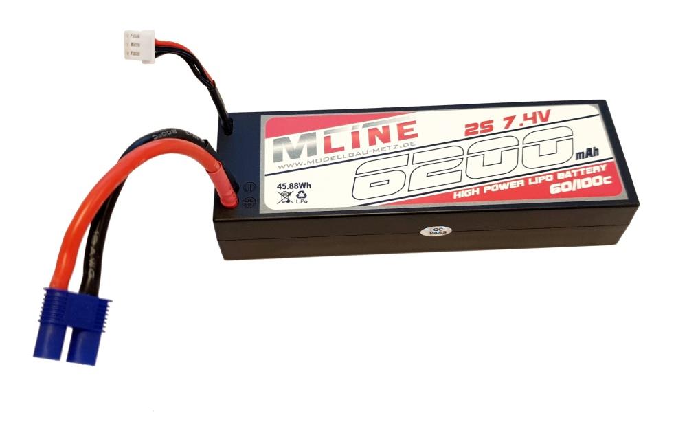 MLine High Power LiPo Akku 60C 2S 7,4V 6200mAh EC3-Stecker