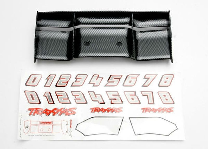 Traxxas Heckflügel schwarz mit Decal Revo (Carbon-Look)