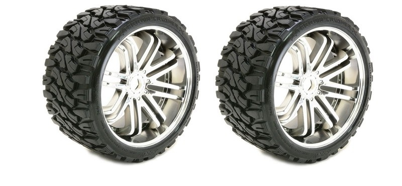 Sweep RC Terrain Crusher Belted Tyre on silver 17mm wheels