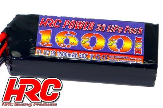 HRC Racing Akku - LiPo 3S - 11.1V 1600mAh 50C - RC Car Micro