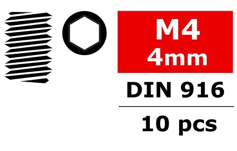 Team Corally - Stahl Madenschrauben M4x4mm - Innensechskant