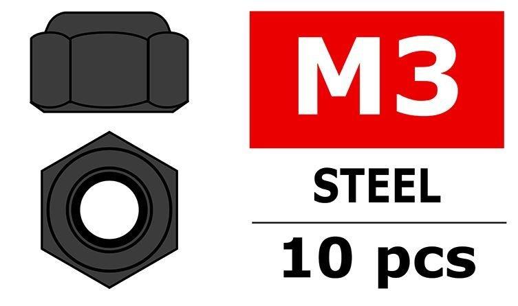 Team Corally - Stahl Nylstop Muttern M3 - Schwarz