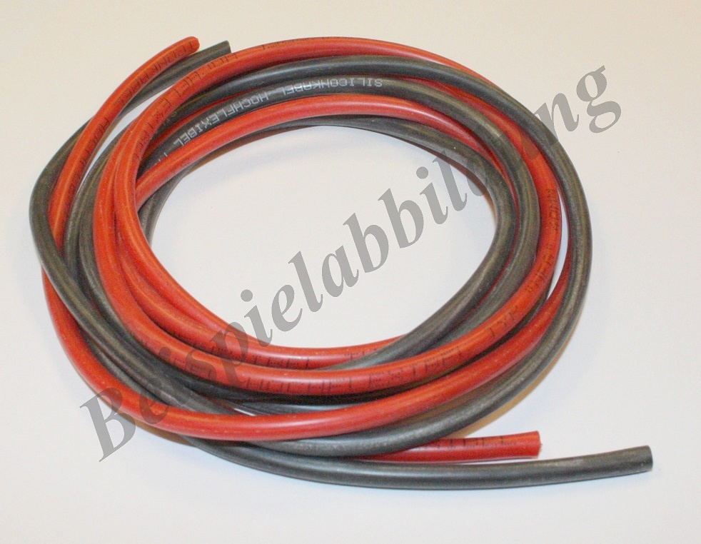 Silikonkabel rot Länge 1m, Querschnitt 6,00mm²