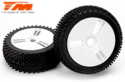 Team Magic Reifen - 1/8 Buggy - montiert - weiss Felgen -