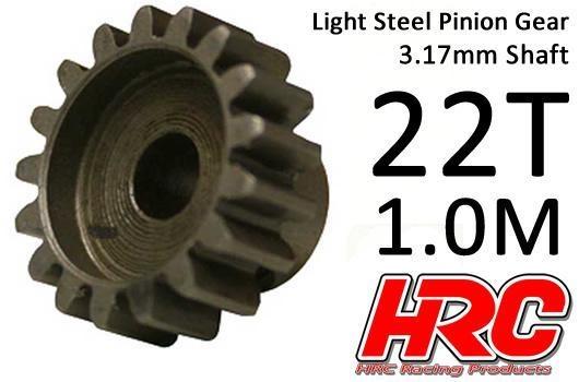 HRC Motorritzel - 1.0M / 3.17mm Achse - Stahl - Leicht - 22Z