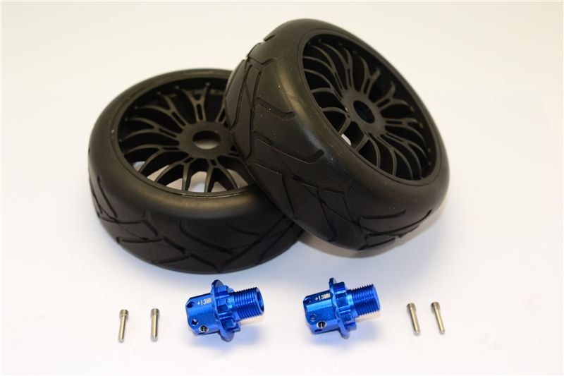 GPM Aluminum 13mm Hex Adapters +Rubber Radial Tires