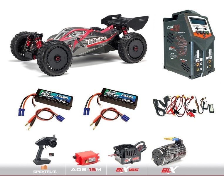 Arrma 1/8 TYPHON V4 6S BLX 4WD Brushless Buggy RTR, Red/Grey