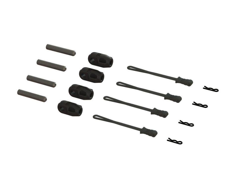 Arrma Brace Rod Ends W/Pins And Retainers (4) (ARA320477)