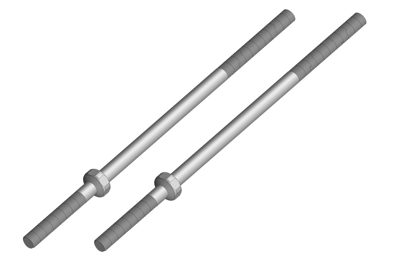Team Corally Turnbuckle 80mm - M3 - Steel - 2 pcs