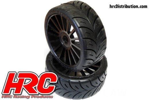 HRC Reifen - 1/8 Buggy - montiert - Schwarze Felgen (2Stück)