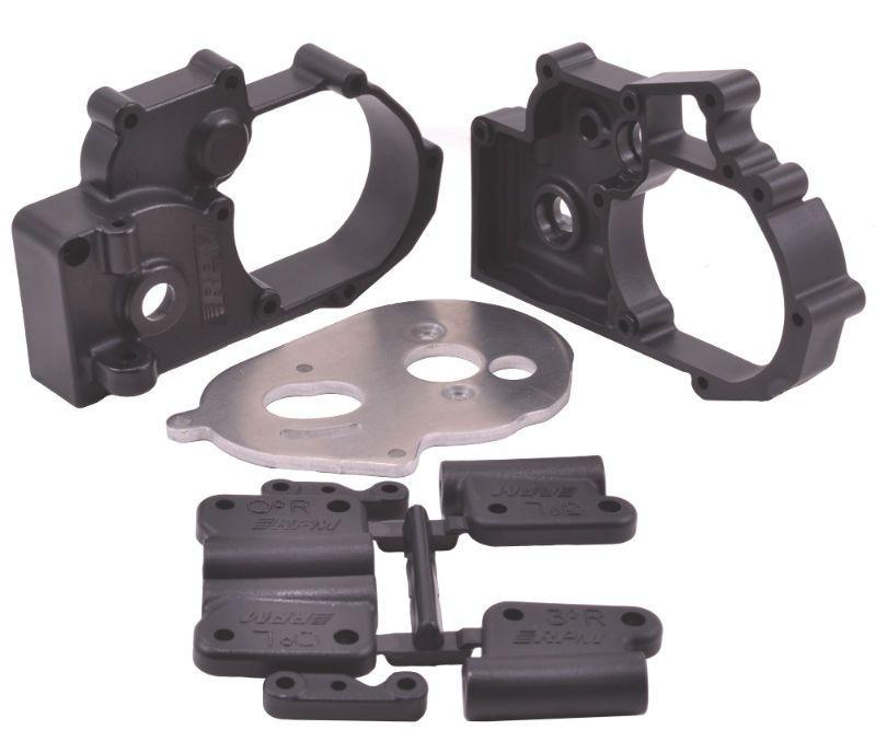 RPM Getriebegehäuse + Querlenkerhalter schwarz TRX Slash