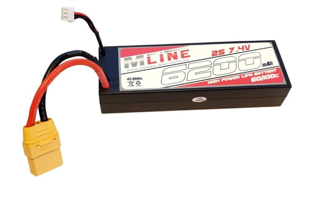 MLine High Power LiPo Akku 60C 2S 7,4V 6200mAh XT90-Stecker