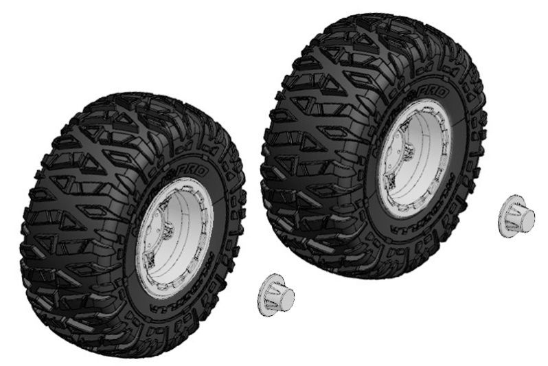 Team Corally Tire and Rim Set - Truck - Chrome Rims - 1 Pair