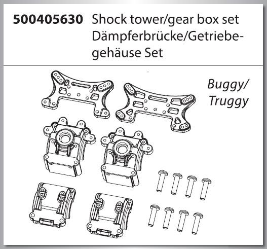 Carson X16 Dämpferbrücken-/Getriebegehäuse Set