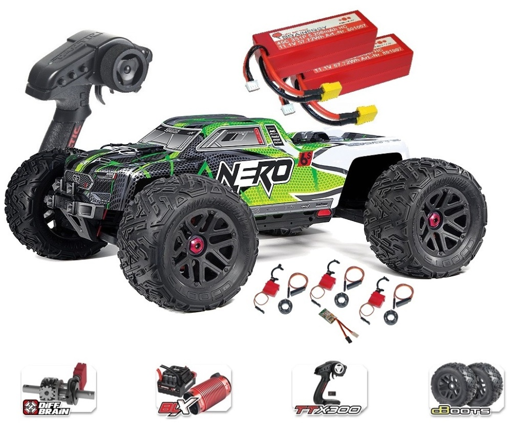 ARRMA NERO 6S EDC 4WD BLX Monster Truck RTR, grün -SPARSET2-