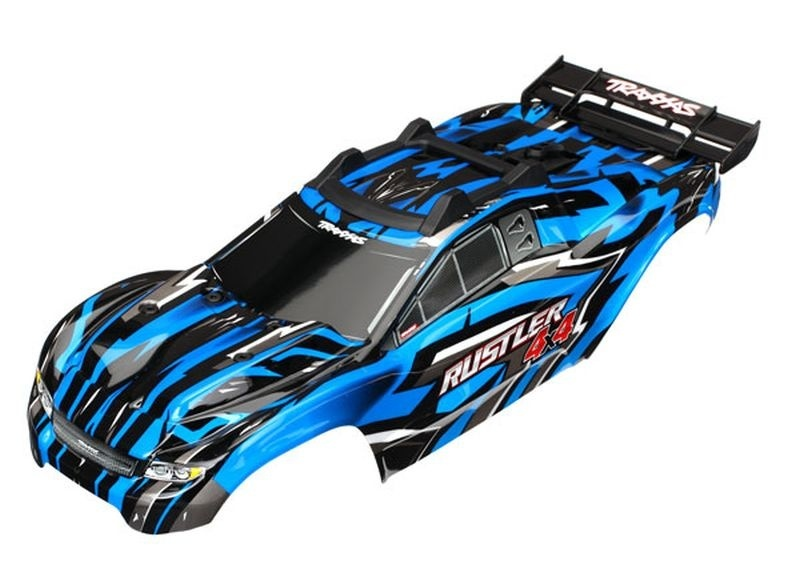 Traxxas Karo Rustler 4X4 blau + Decals mit Karohalterung