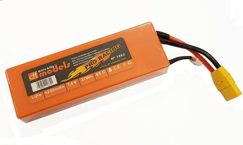 DF Lipo 7,4 Volt- 2S 7,4V- 5200mAh - 45C-eckig &XT90-Stecker