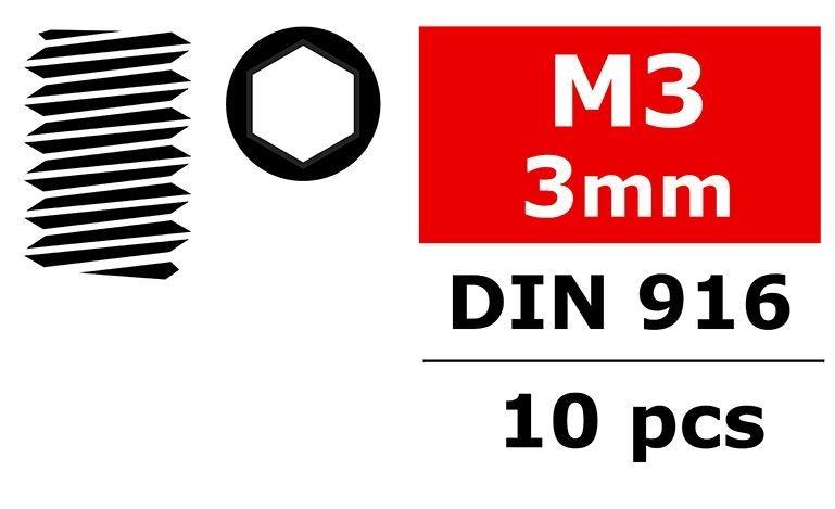 Team Corally - Stahl Madenschrauben M3x3mm - Innensechskant