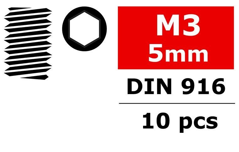 Team Corally - Stahl Madenschrauben M3x5mm - Innensechskant