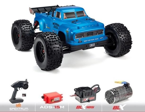 Arrma 1/8 NOTORIOUS 4WD BLX Stunt Truck 6S RTR, Blau