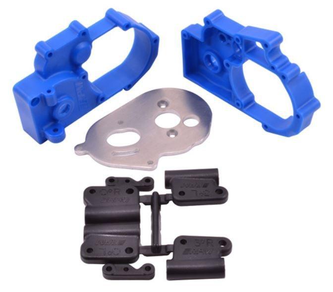 RPM Getriebegehäuse + Querlenkerhalter blau TRX Slash