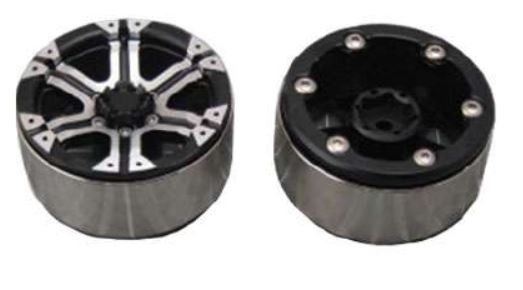 Amewi 48.2mm CNC Felgen, Alu D90 schwarz 6-Speichen-Design,