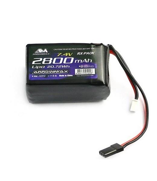 Arrowmax LiPo 2800mAh 2S TX/RX 7.4V Hump Pack