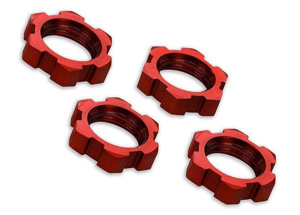 Traxxas Radmuttern, splined, 17mm, serrated (rot-eloxiert)