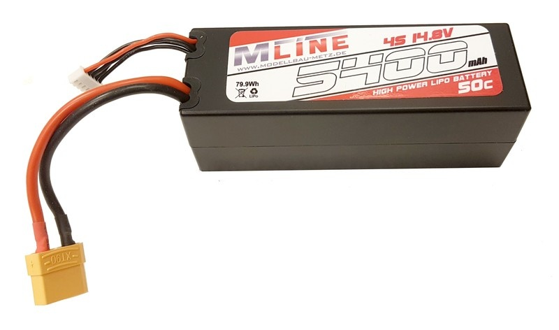 MLine High Power LiPo Akku 50C 4S 14.8V 5400mAh XT90