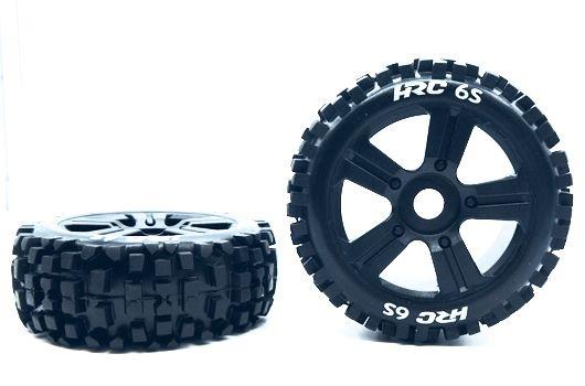 HRC Racing Reifen - 1/8 Buggy - montiert - schwarze Felgen