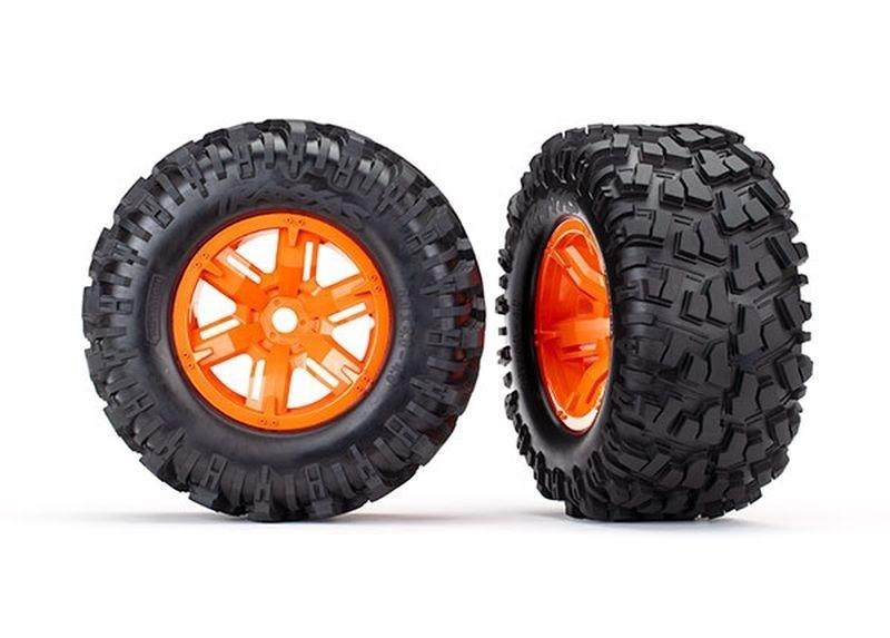 Traxxas Reifen auf Felge X-Maxx orange, Maxx AT Reifen (2)