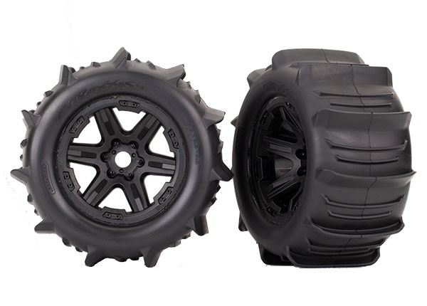 Traxxas Reifen & Felgen montiert schwarz 3.8 Paddle (2)