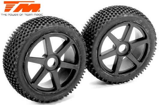 Team Magic Reifen - 1:8 Buggy - montiert - schwarze Felgen