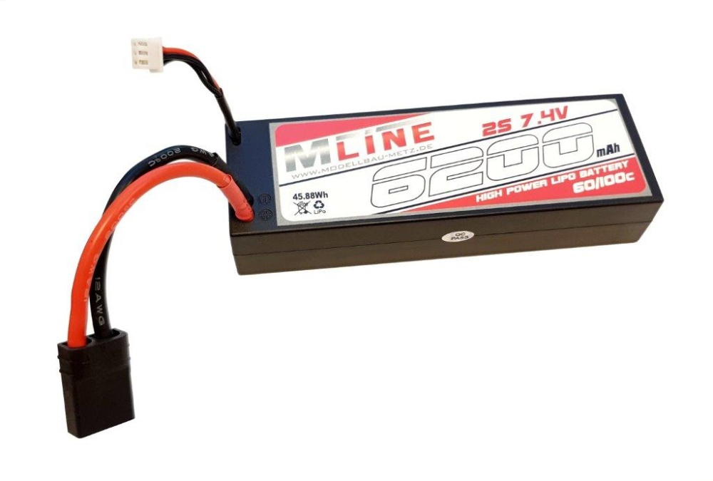 MLine High Power LiPo Akku 60C 2S 7,4V 6200mAh TRX-Stecker