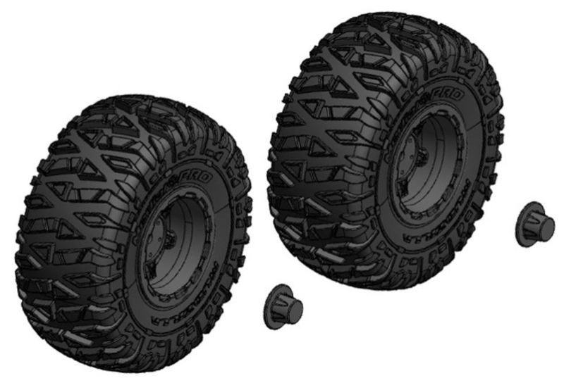 Team Corally Tire and Rim Set - Truck - Black Rims - 1 Pair