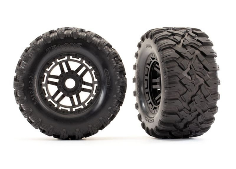 Traxxas Reifen auf Felge montiert Felge schwarz Maxx