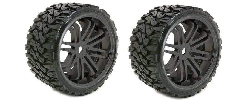 Sweep RC Terrain Crusher Belted Tyre on black 17mm wheels