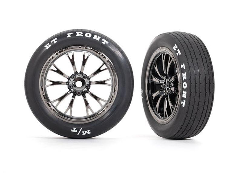 Traxxas Reifen auf Felge montiert schwarz chrom vorn (2)